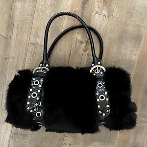 Black Rabbit Fur Silver Stud Rhinestone Buckle Bag
